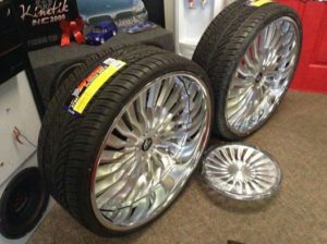 Here at Barbary Customs Automotive Shop we got some brand new three piece staggered 26 inch Amani Nino rims with the matching steering wheel in stock for a G-Body (5x4.75) vehicle like a Chevy Caprice, Chevy Monte Carlo, Chevy Impala, Chevy Camaro...etc for $6,200. The set has never been rode or bolted up to any vehicle. SERIOUS BUYERS Only contact us at: 574-360-5431 or online at: www.Barbarycustoms.com